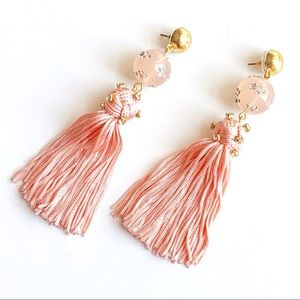 J. Crew Crystal Beaded Tassel Earrings
